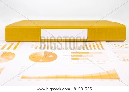 Blank Yellow Folder With Business Graph And Summary .reports