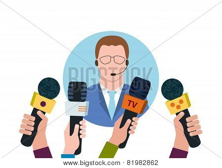 Businessman giving interview