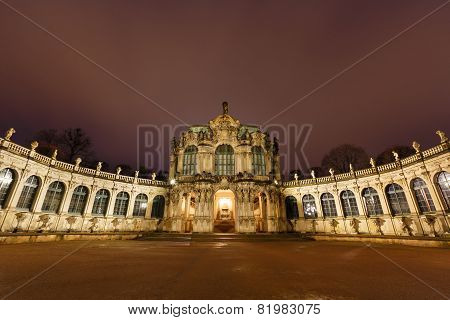 Dresden Zwinger Palace Panorama With Illumination At Night