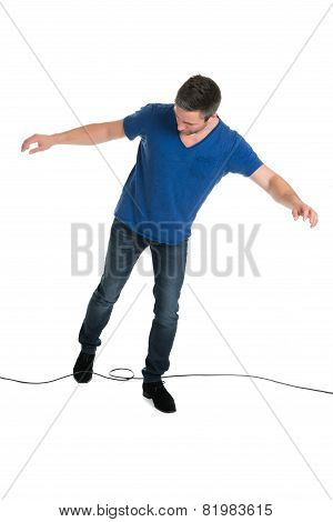 Man Stucked In Cable While Walking