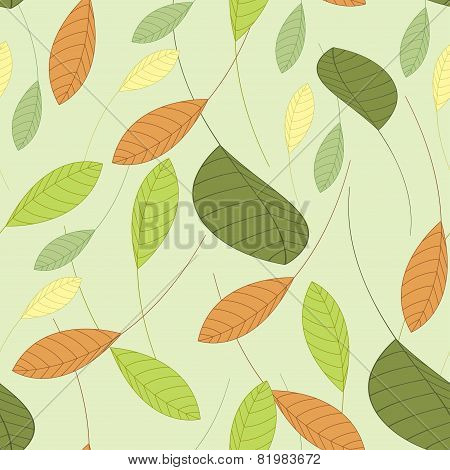 Seamless Background With Leaves In Shades Of Green