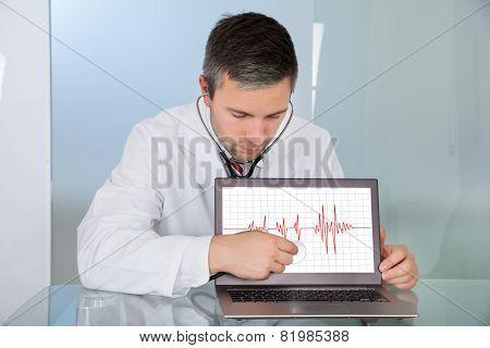 Doctor Examining Laptop Screen
