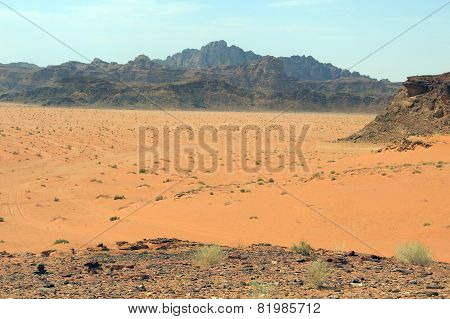 Mountains In The Desert  In Jordan In The Middle East