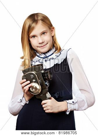 Girl Cameraman With Retro Camera
