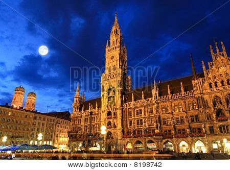 The Night Scene Of Town Hall In Munich
