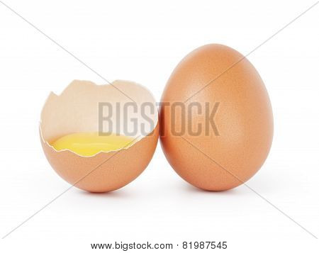 raw brown chicken egg isolated