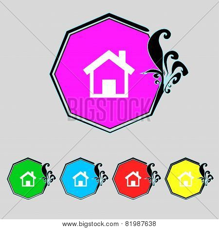 Home Sign Icon. Main Page Button. Navigation Symbol. Set Colourful Buttons. Vector
