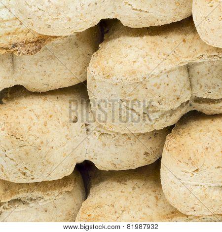 Macro shot of dog food biscuits