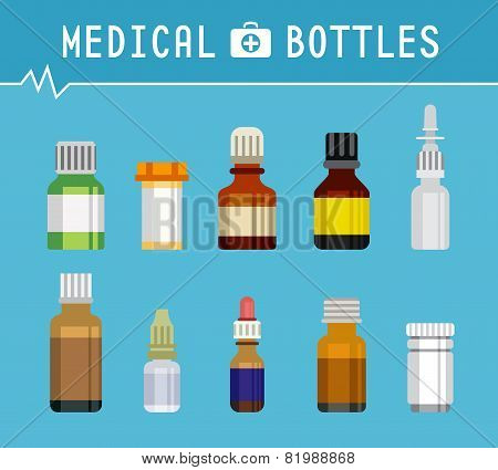 Cool Various Medication Bottles for Medical Background Graphic Design