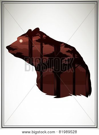 Vector Illustration With Animal Head And Double Exposure Effect.