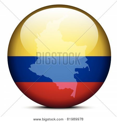 Map On Flag Button Of Republic Of Colombia