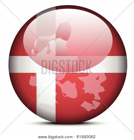 Map On Flag Button Of Kingdom Of Denmark