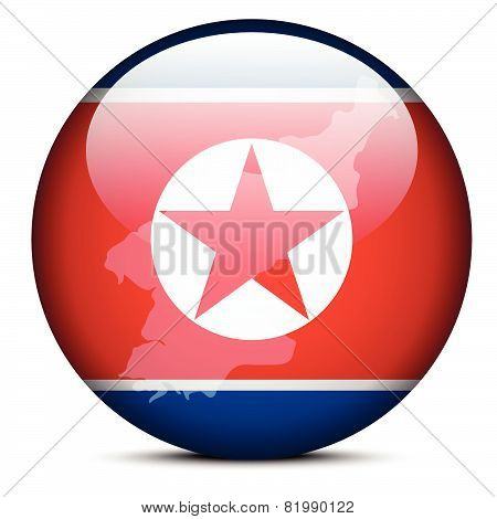 Map On Flag Button Of Democratic People's Republic Of Korea, North Korea