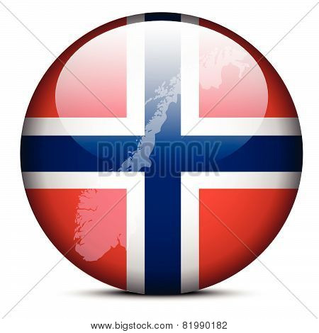 Map On Flag Button Of Kingdom Of Norway