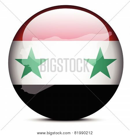 Map On Flag Button Of Syrian Arab Republic