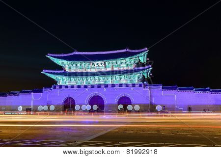 Korean palace at night
