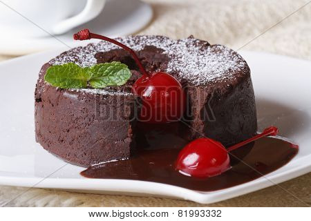 Chocolate Fondant With Cherries Macro And And Coffee. Horizontal