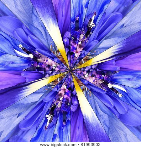 Blue Flower Center Collage Geometric Pattern