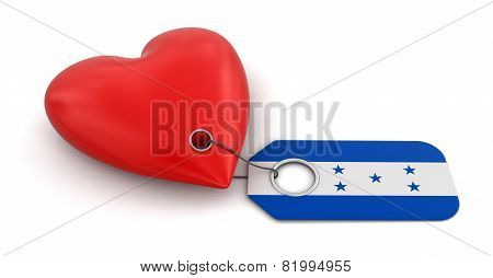 Heart with Honduras flag (clipping path included)