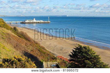 Beautiful UK beach Bournemouth coast Dorset England UK near to Poole