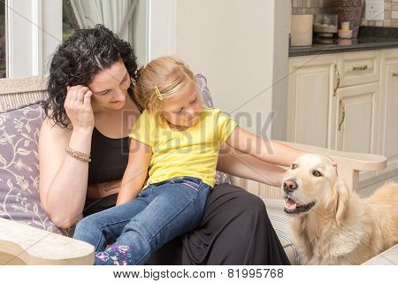 Mother, Daughter, And Dog