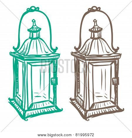 Isolated Image Of A Retro Kerosene Lantern Made In The Thumbnail Style