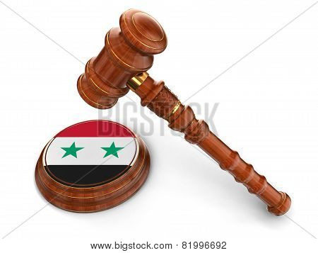 Wooden Mallet and syrian flag (clipping path included)