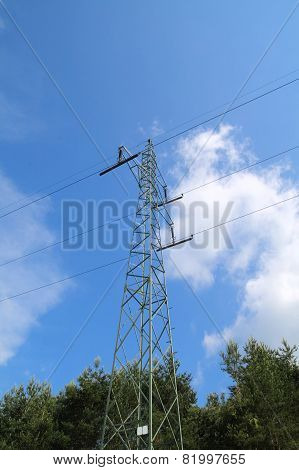 High Voltage Pylon And Power Lines