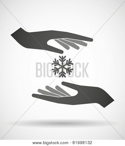 Hands Protecting Or Giving A Snow Flake