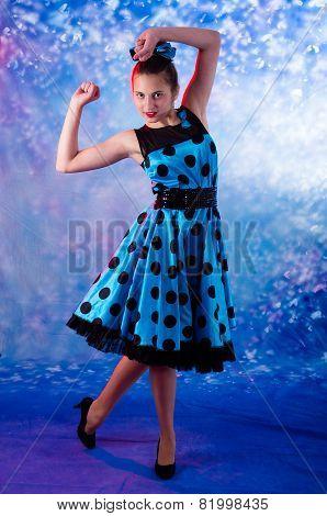 Vintage  style female teen having joy.