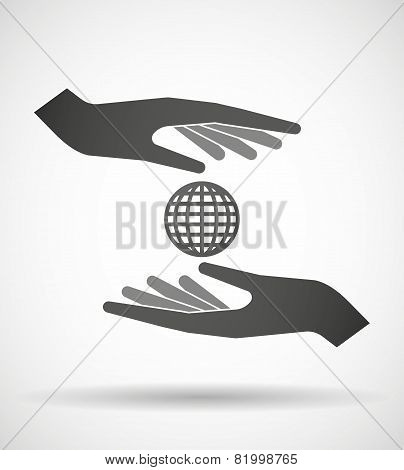 Hands Protecting Or Giving A World Globe