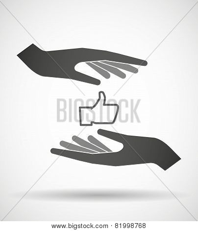 Hands Protecting Or Giving A Thumb Hand