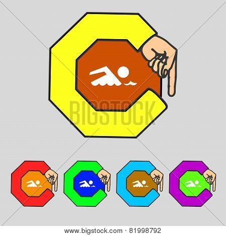 Swimming Sign Icon. Pool Swim Symbol. Sea Wave. Set Colourful Buttons. Vector