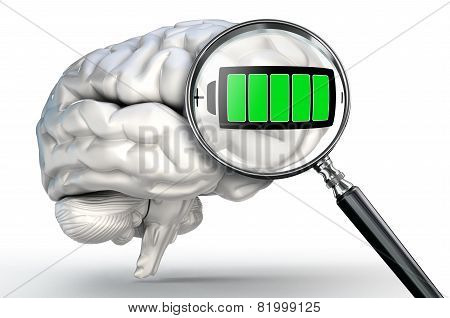 Full Energy Symbol On Magnifying Glass And Human Brain