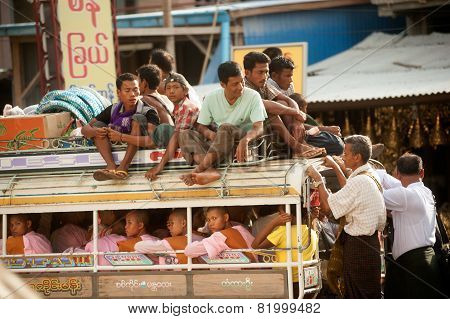 Little Buses Are Common Site In Myanmar.