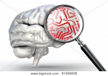 Red Circuit On Magnifying Glass And Human Brain