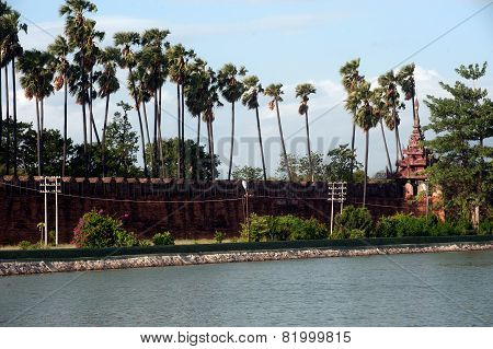 Mandalay Palace's Wall In Myanmar.