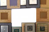 picture of microprocessor  - group of microprocessors isolated on the white background - JPG