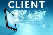 stock photo of clientele  - Client illustration with tablet computer on blue background - JPG