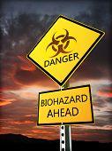 stock photo of bio-hazard  - Warning bio hazard sign posted near the danger zone - JPG