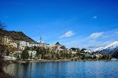 foto of engadine  - view of Saint Moritz in the Swiss Alps - JPG