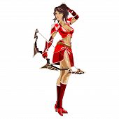 picture of archer  - the girl Archer in a red suit and bow in hand isolated on white background - JPG