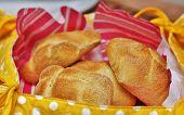 pic of bread rolls  - Fresh bread rolls in a bread basket - JPG