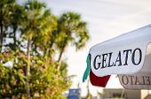 picture of gelato  - image of a gelato sign on a summer day - JPG