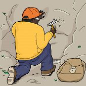 picture of chisel  - Black geologist using rock hammer to chisel rock samples - JPG