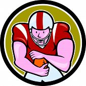 pic of scat  - Illustration of an american football gridiron player running back with ball facing front fending set inside circle on isolated background done in cartoon style - JPG