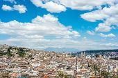 stock photo of andes  - Historical center of old town Quito in northern Ecuador in the Andes mountains - JPG