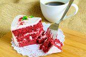 foto of sackcloth  - Close up of Red velvet cake on sackcloth - JPG