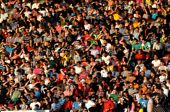 foto of hooligans  - Blurred crowd of people at a football match in a stadium - JPG