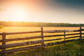 stock photo of hamlet  - Rural nature at sunset - JPG